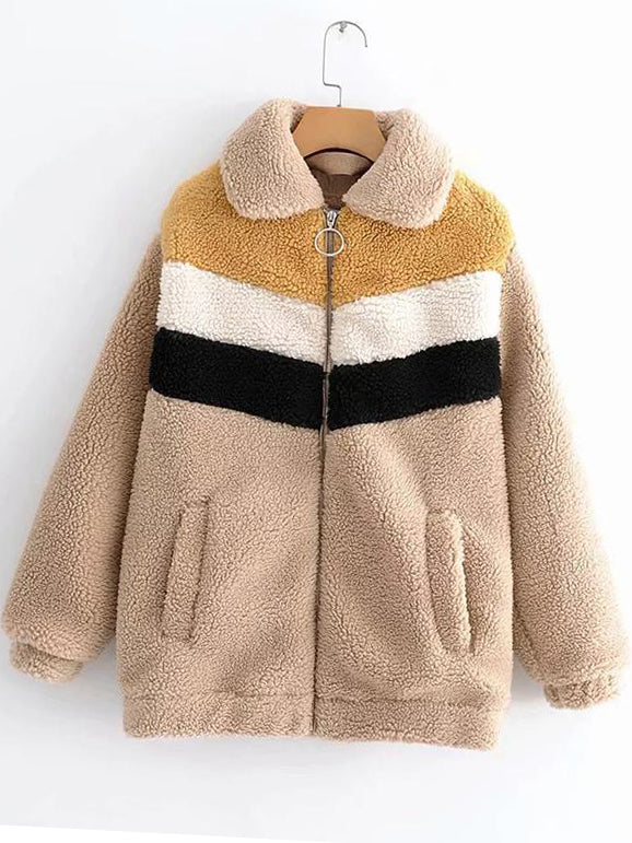 Quilted Plush Zippered Stand-Up Collar Coat