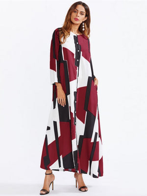 Shift Daily Casual Abstract Maxi Plus Size Dress