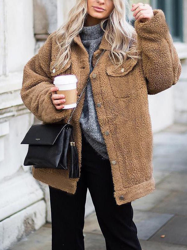 Street Style Button Pocket Turndown Collar Long Sleeve Plush Coat