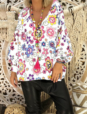 Flower Print V Neck Loose Puff Sleeve Blouse