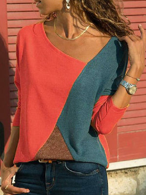 Color-block Plus Size Long Sleeve Patchwork Casual T-Shirts