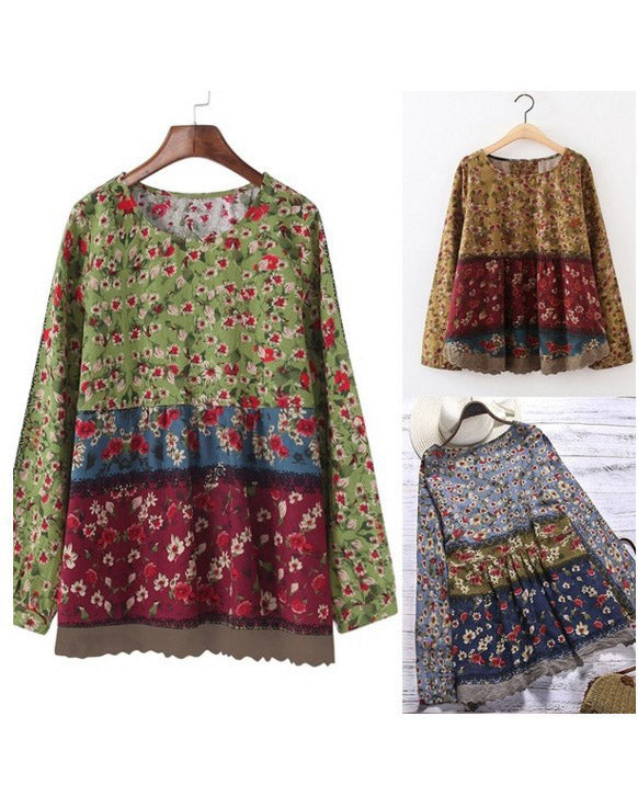 Plus size Casual Floral Crew Neck Long Sleeve T-Shirts