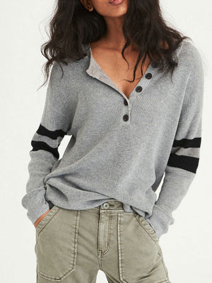 Button Placket Contrast Striped Elbow Sleeve Casual Knit Shirt
