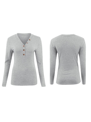 Women Sexy V Neck Buttoned Fit T-shirt