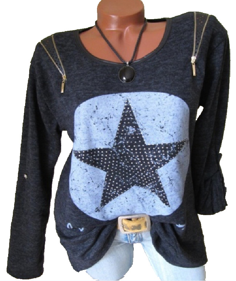 Women's Fashion Long Sleeve Stars Printing Shoulder Zippers Cotton T-shirt   Tops