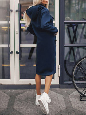 Casual Loose Pockets Medium Length Shirt Hooded Dress