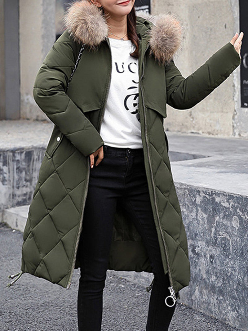 Shift Midi Length Fuzzy Hooded Down Padded Coat