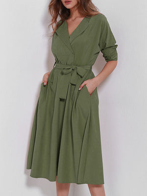 Elegant Solid V Neck Self-tied Waist Midi Dress