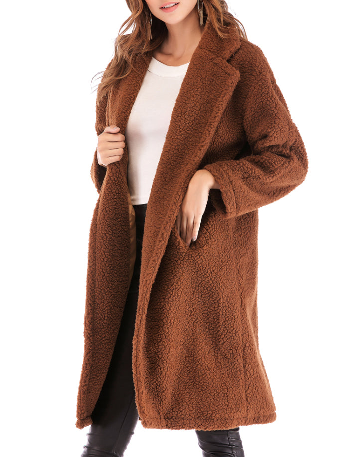 Warm Lamb Long Sleeves Cardigan Jacket Coat