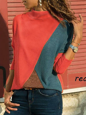 Color Block Paneled Turtle Neck Long Sleeve Casual T-shirt