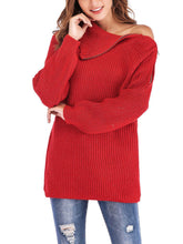 Red One-shoulder Long Sleeve Zip Knitted Sweater
