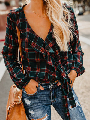 Rust Pied Piper Plaid Ruffle Wrap Blouse