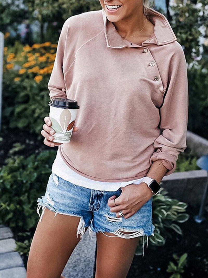 Slope Buttoned Shoulder Turndown Collar Long Sleeve Sweatshirt