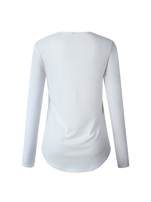 Long Sleeve Cross-string V Neck Solid Blouse