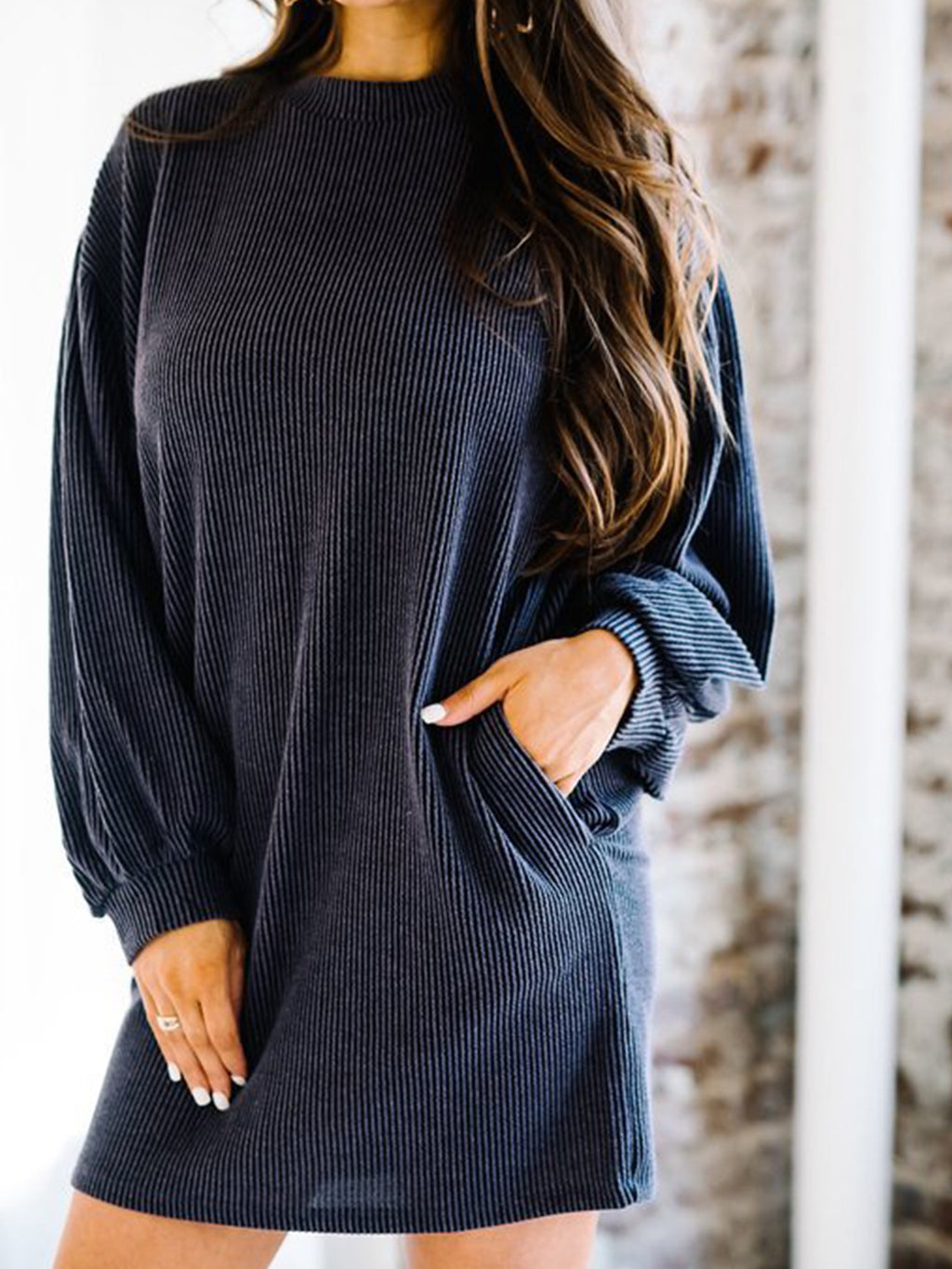 Pure Bloomer Sleeve Long Sleeve Sweatshirt Dress
