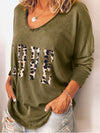 Leopard Print LOVE Print Drop Shoulder Sleeve Round Neck Women T-Shirt