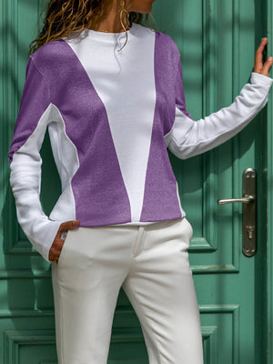 Spring Lightweight Color Block Long Sleeve Blouse