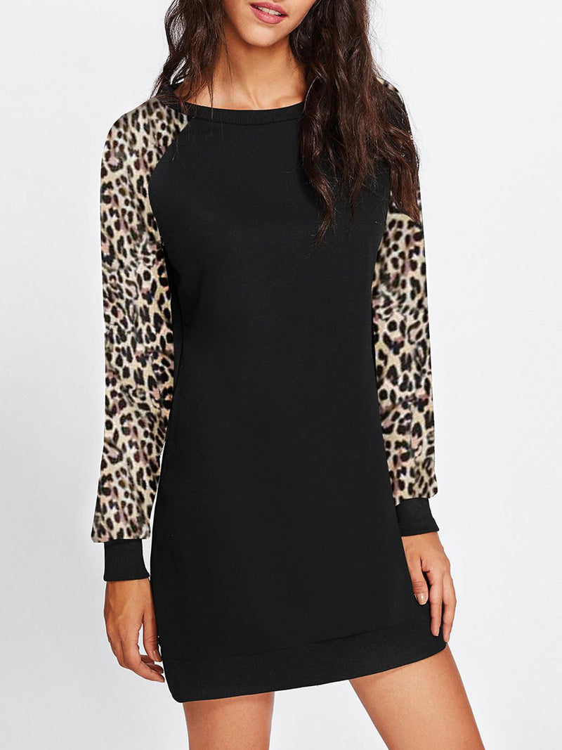 Women Round Neck Pullover Long Sleeve Paneled Leopard Print Midi Blouse