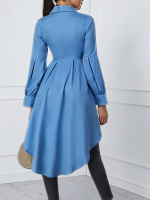 Solid Blue Bloomer Sleeve Swallowtailed Dress
