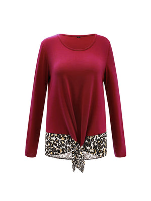 Leopard Print Splice Loose Round Neck Long Sleeve Blouse