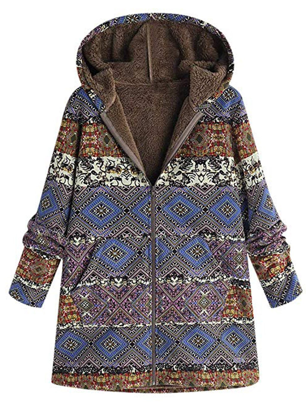 Floral Hooded Long Sleeve Zipper Pockets Plus Size Midi Fit Coat