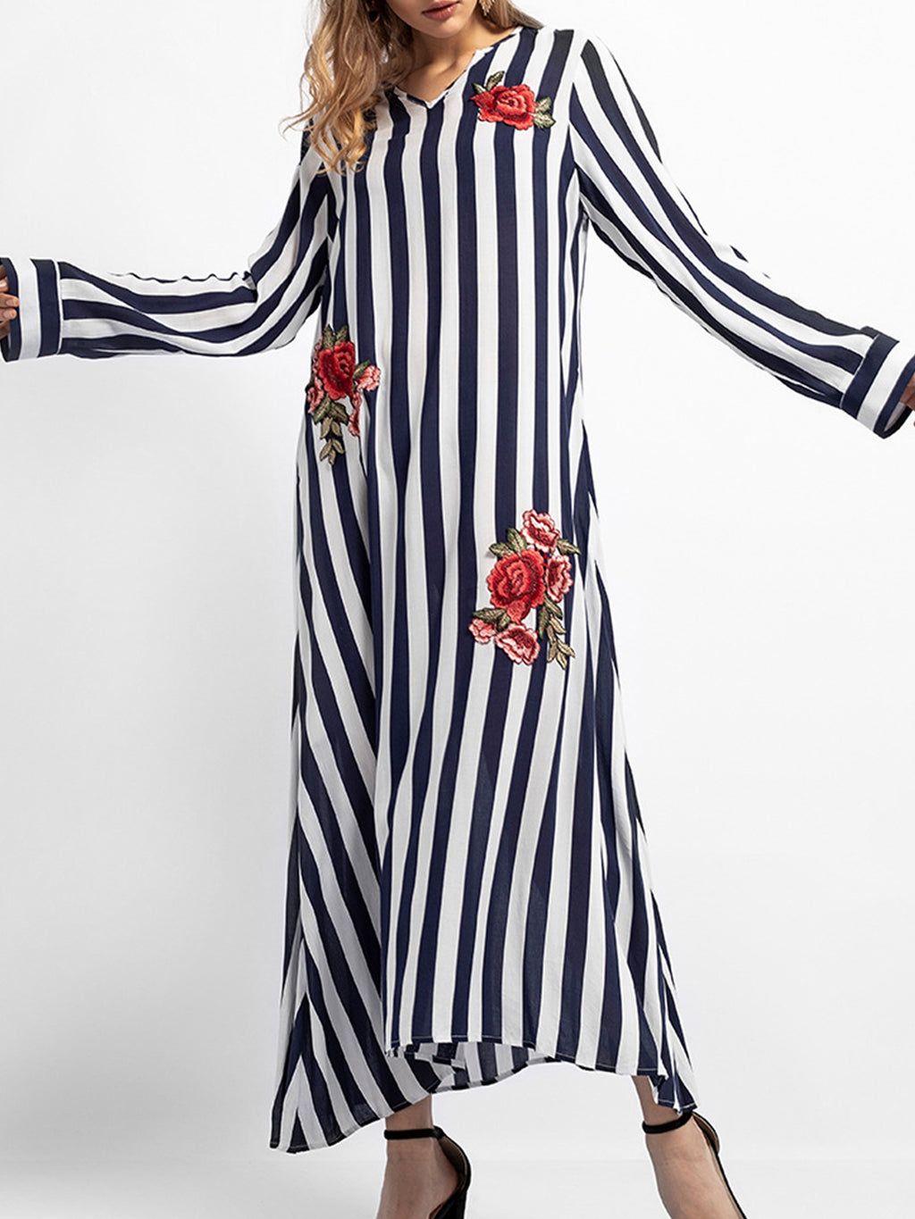 Stripe Printed Floral Embroidery Cotton Long Sleeve A-line Dress