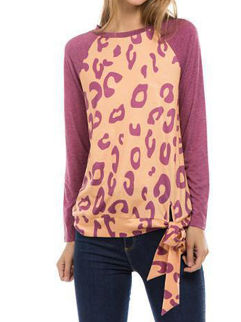 Leopard Printed Patchwork Long Sleeve T-Shirts