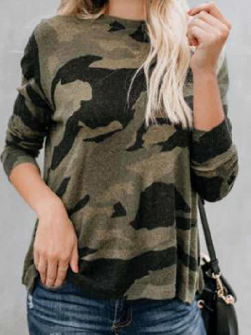 Round Neck Caomfortable Camouflage Long Sleeve Blouse Top