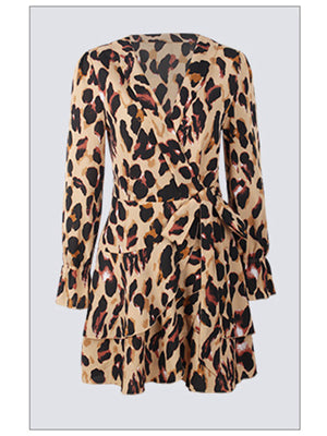 Leopard Print Lap Neck Sexy Flare Dress