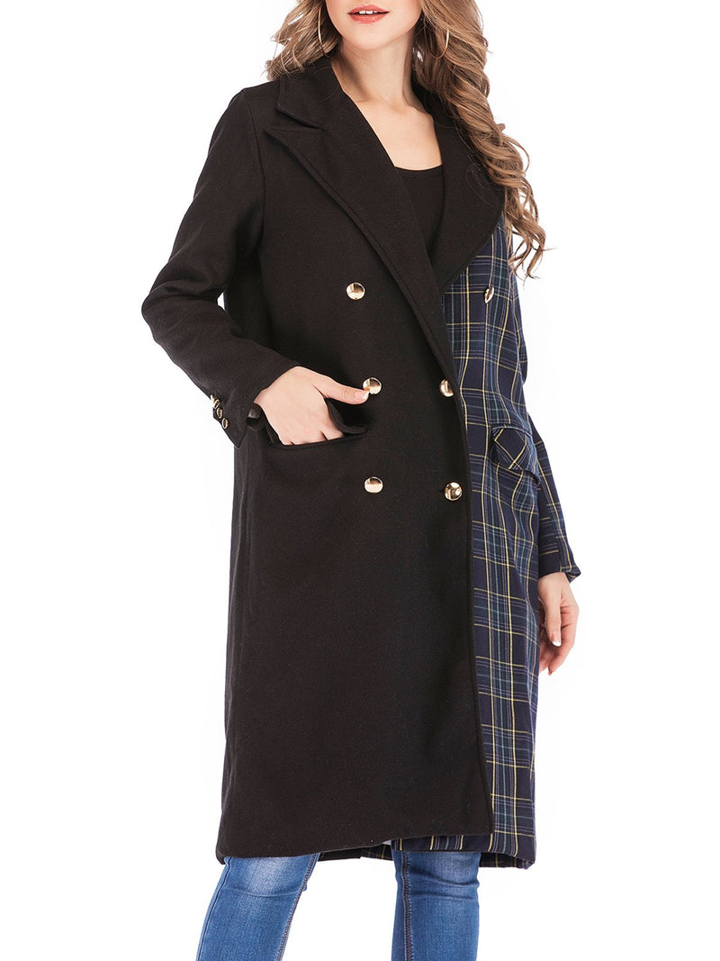 Solid/Plaid Paneled Double Breast Shawl Collar Midi Coat