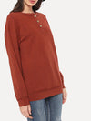 Round Neck Decorative Button Long Sleeve T-Shirt