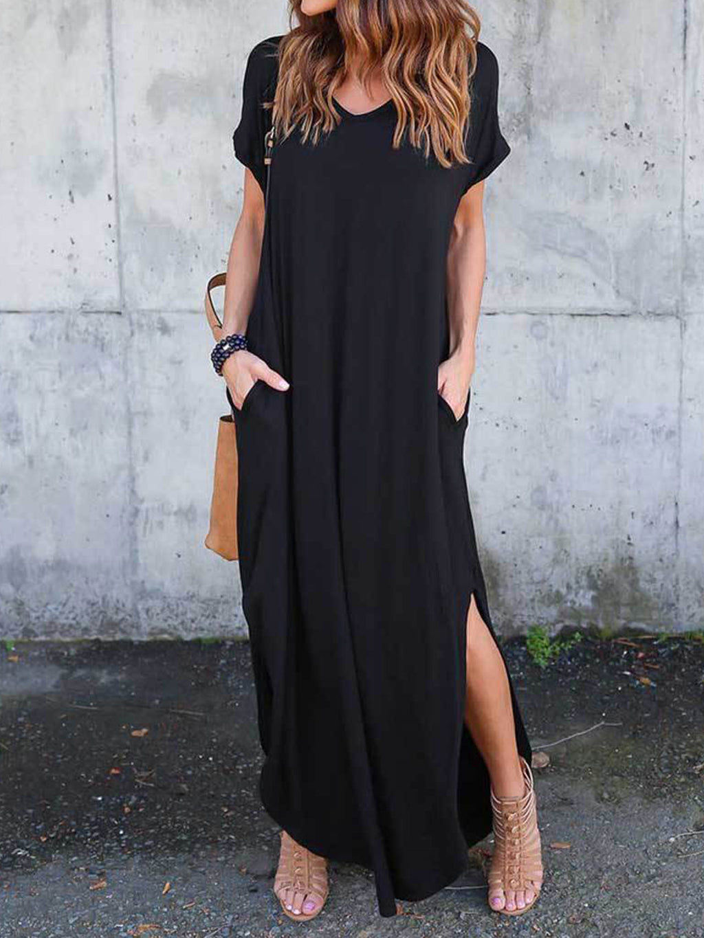 Loose Solid Round Neck Short Sleeve Dress