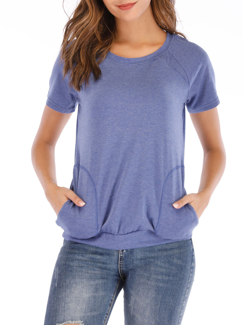 Women Plain Casual Basic Women T-shirt