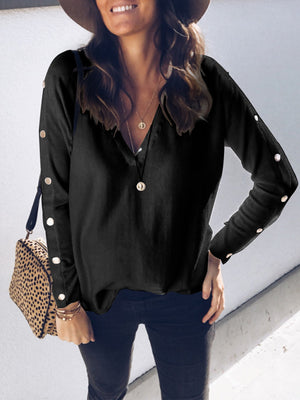 Sexy V Neck Button Pure Casual Knit Women Blouse