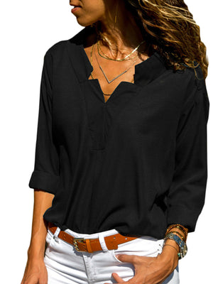 White Solid V Neck Long Sleeve Women Shirt
