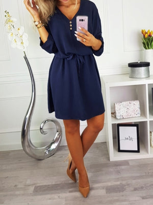 Fashion V Neck Lace-up Buttoned Half Sleeve Women Dress