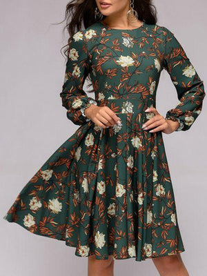 Green Floral Printed Long Sleeve Fitting Gathering Midi Dress