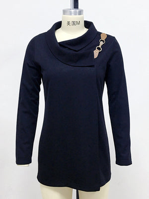 Fall/Winter Shawl Collar Buckle Women Long Sleeve Blouse