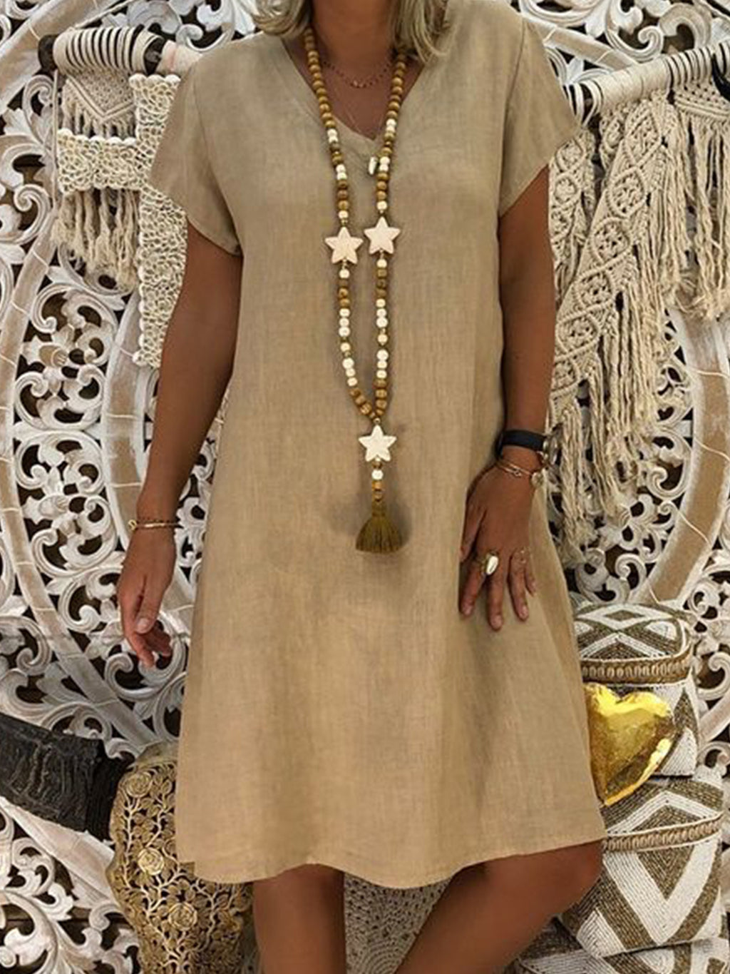 Solid Short Sleeve V Neck Dress