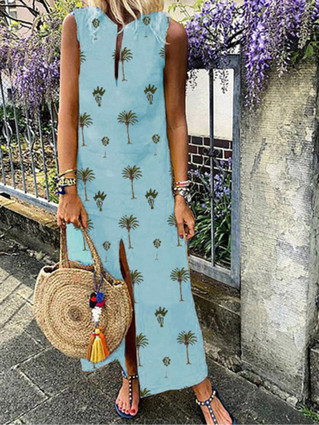 Coconut Palm Print V Neck Sleeveless Midi Slit Dress