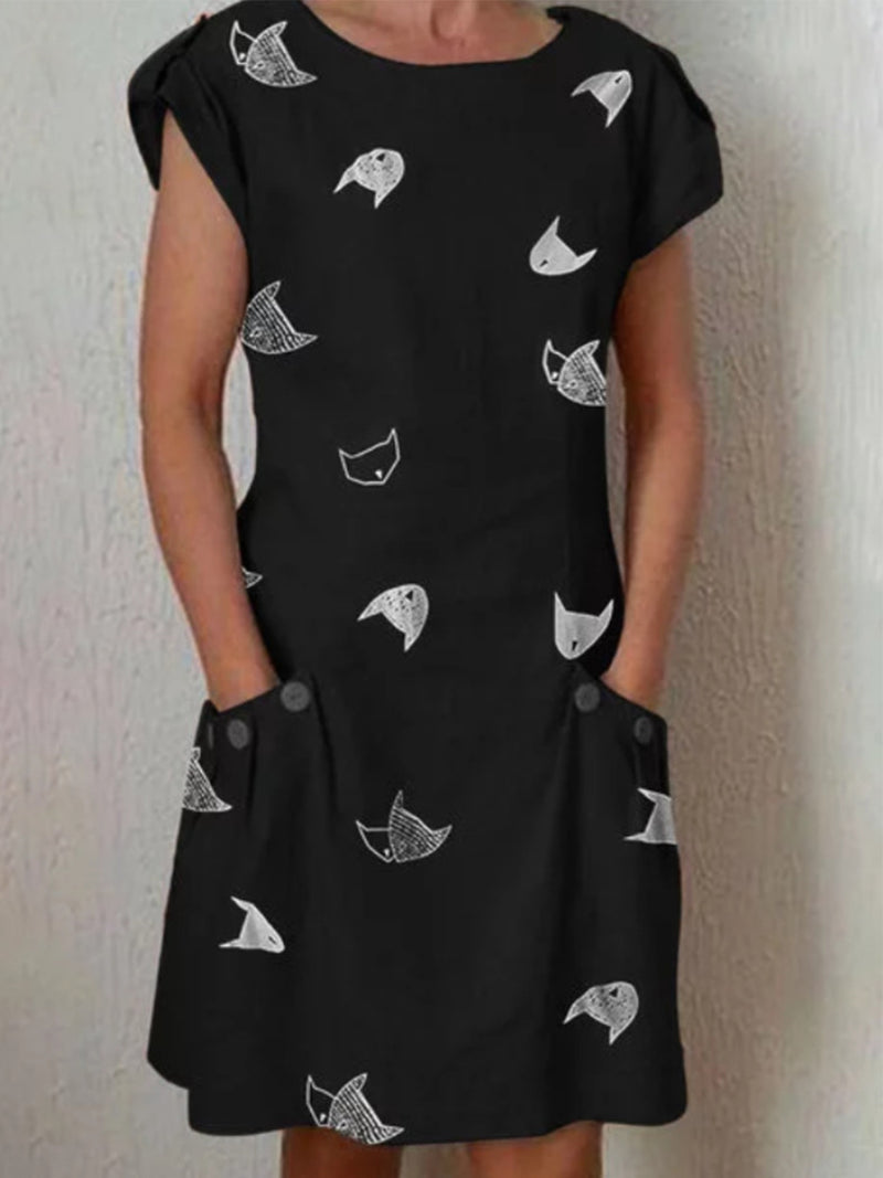 Cat Printed Shift Dresses