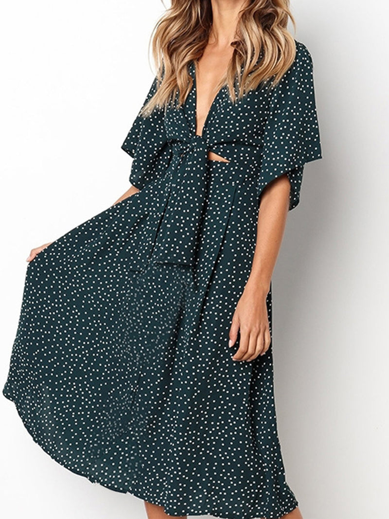 Polka Dot V Neck Half Sleeve Bow A-line Midi Dress