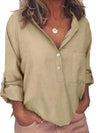 Solid Lapel Long Sleeve Buttons Pocket Loose Shirt