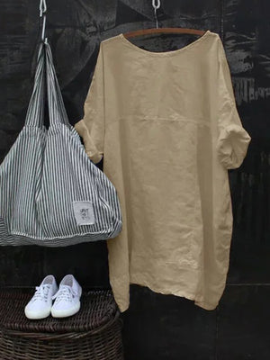 Solid Cotton Round Neck Half Batwing Sleeve Plus Size Loose Midi T-shirt