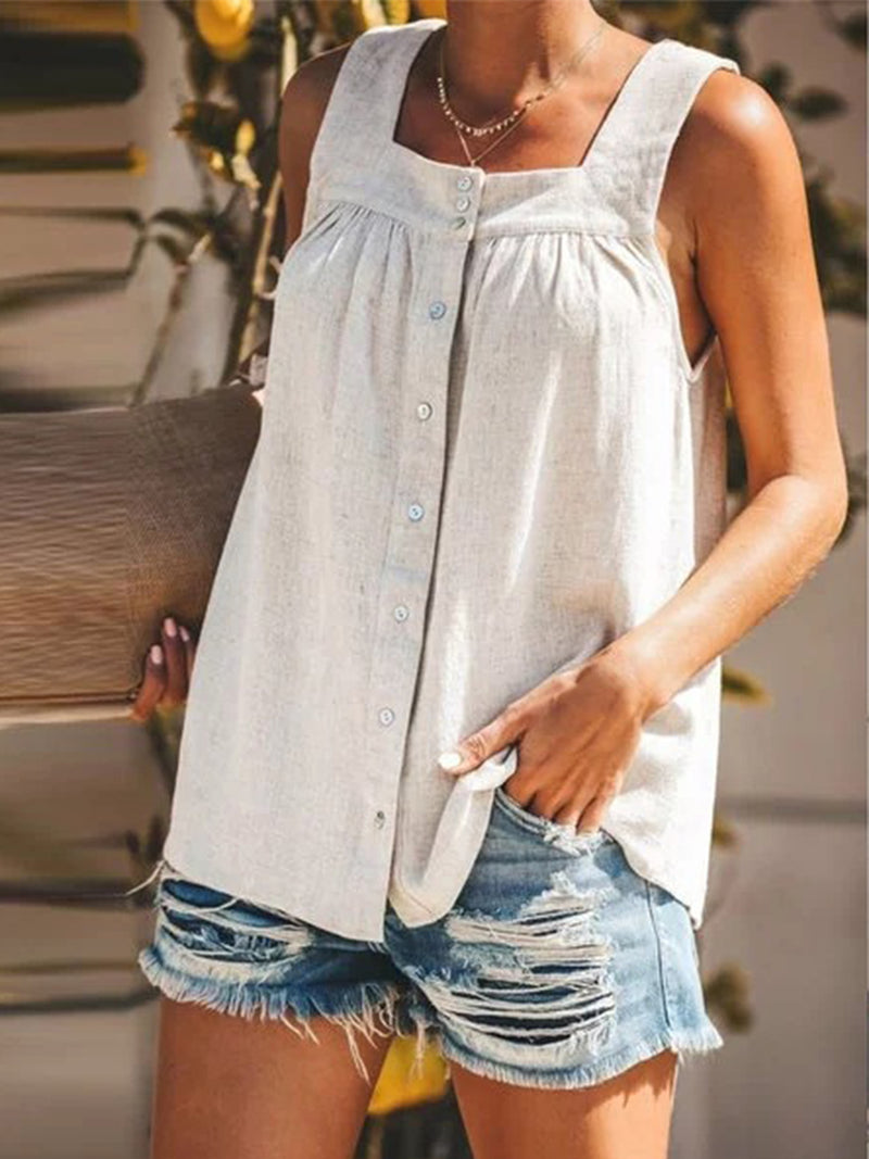 Solid Linen Sleeveless Buttons Plus Size Straight Tank Top