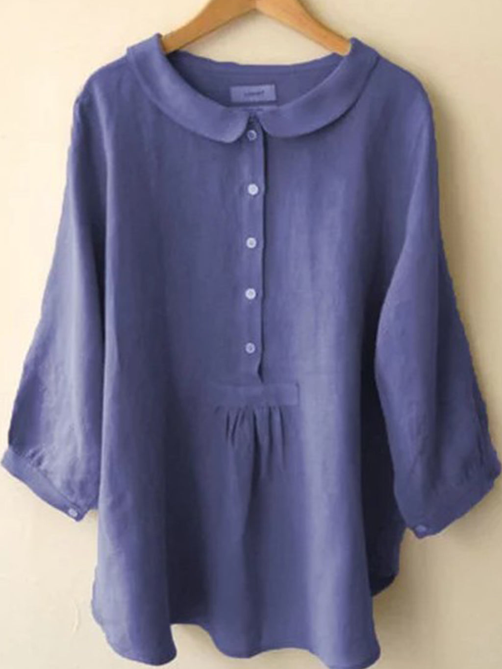 Solid Linen Doll Collar 3/4 Sleeve Buttons Plus Size Loose Shirt