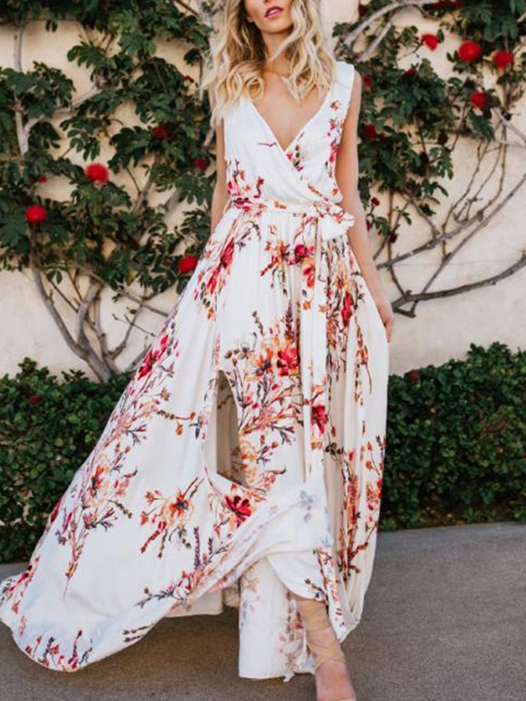 Holiday Boho V Neck Floral-Print Maxi Dress