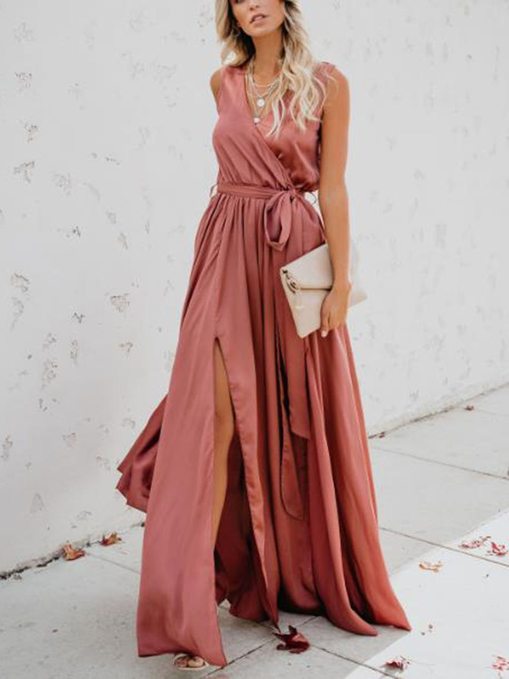 Elegant Solid Lace-Up Waist V Neck Sleeveless Maxi Dress