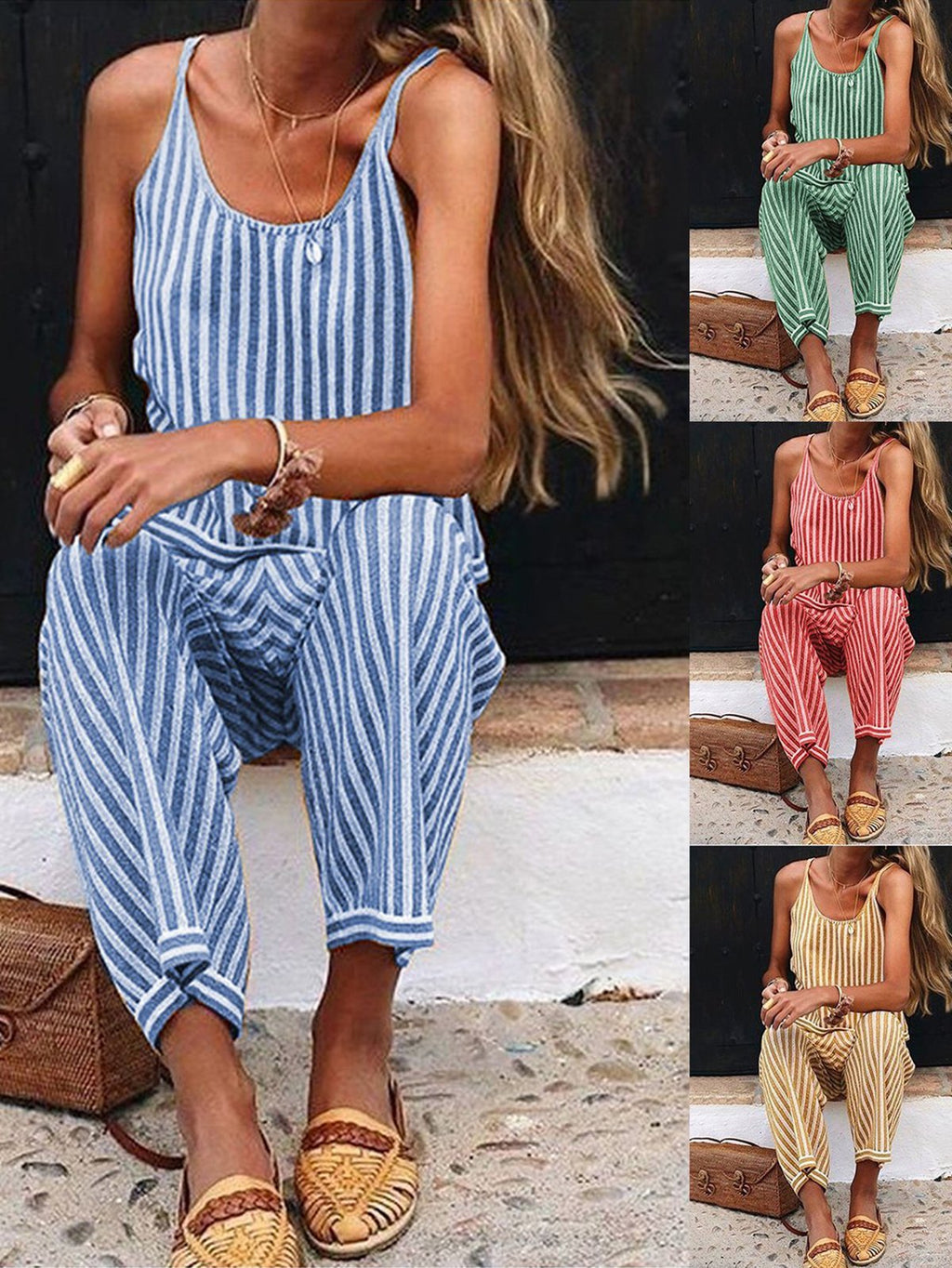 Summer Striped Spaghetti Straps Casual Jumpsuits