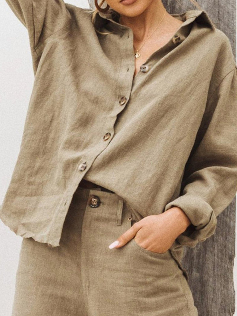 Linen/Cotton Button-Down Long-Sleeved Solid Shirt
